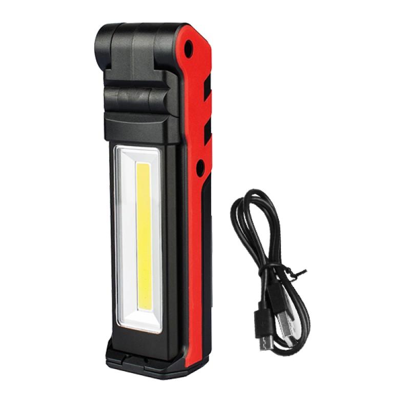 Φορητός Φακός Εργασίας LED Wide Επαναφορτιζόμενος με Μπαταρίες Διπλό Φωτισμό στο Πάνω Μέρος 2x3 Watt και Πλαϊνό COB 5 Watt GloboStar 07039