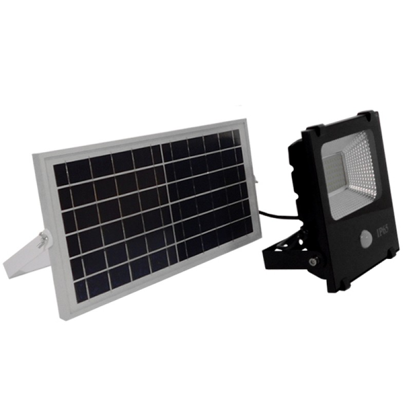 Αυτόνομος Ηλιακός Φωτοβολταϊκός Προβολέας LED 30W 1800lm 180° Αδιάβροχος IP65 με Αισθητήρα Κίνησης Ψυχρό Λευκό 6000k GloboStar 12102