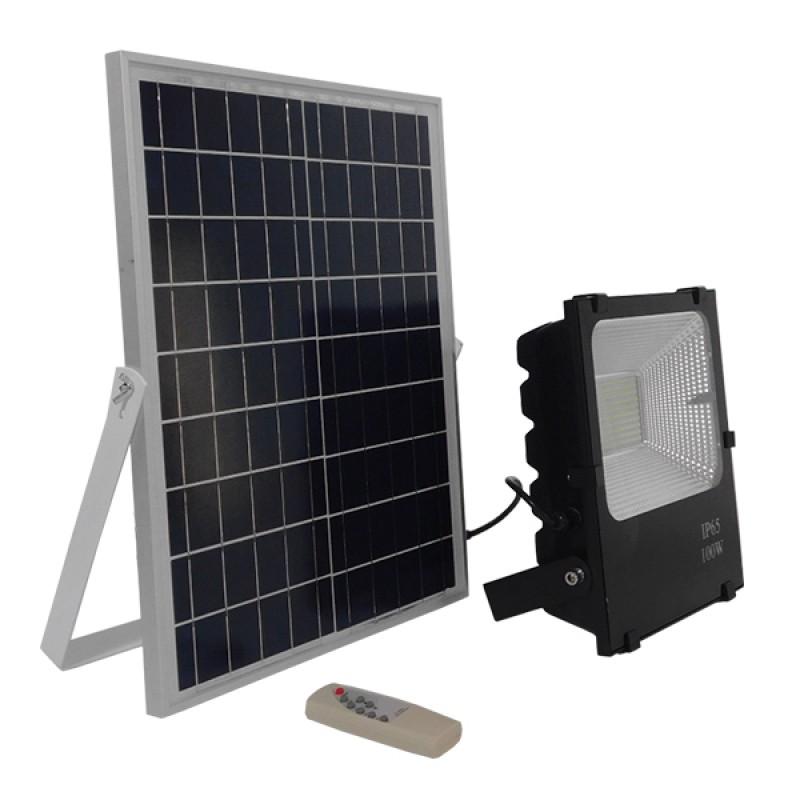 Αυτόνομος Ηλιακός Φωτοβολταϊκός Προβολέας LED 100W 6000lm 180° Αδιάβροχος IP65 με Ασύρματο Χειριστήριο Ψυχρό Λευκό 6000k GloboStar 12104