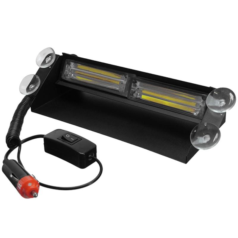 Φώτα Οδικής Βοήθειας STROBO για Παρμπρίζ Αυτοκινήτου με Βεντούζες Στήριξης LED 2 x COB LIGHT 8W 10-30V Λευκό GloboStar 34315