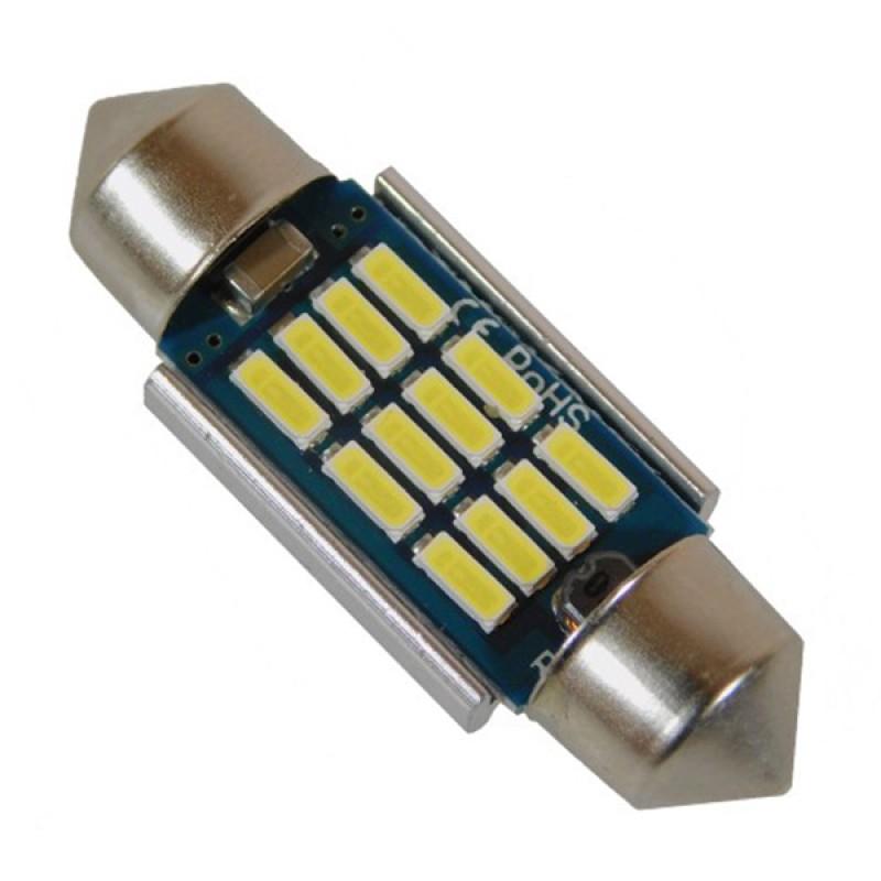 Σωληνωτός LED 36mm Can Bus με 12 SMD 4014 Samsung Chip 12 Volt Ψυχρό Λευκό GloboStar 40176