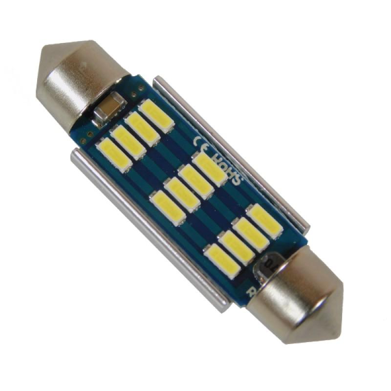Σωληνωτός LED 42mm Can Bus με 12 SMD 4014 Samsung Chip 24 Volt Ψυχρό Λευκό GloboStar 50178