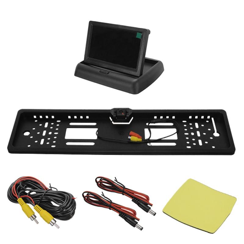 """Πλαίσιο Πινακίδας Αυτοκινήτου με Ενσωματωμένη Αδιάβροχη Κάμερα Οπισθοπορείας CMOS Signal και Πτυσσόμενη Οθόνη 4.3"""" 12V GloboStar 77350"""