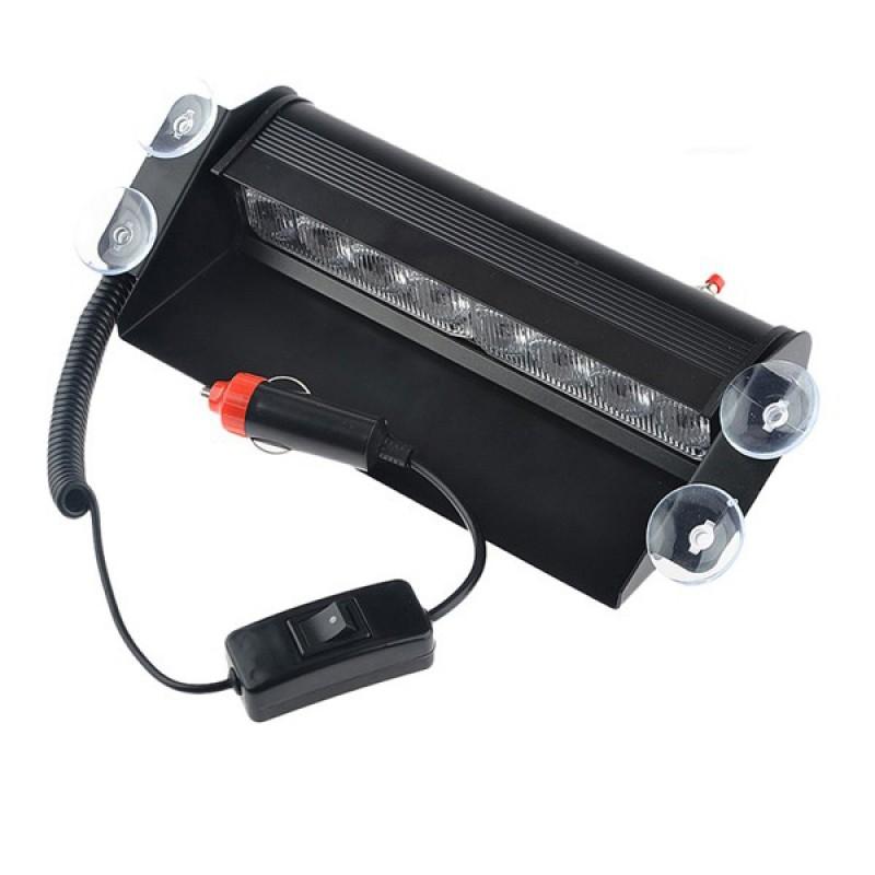 Φώτα Ασφαλείας Security STROBO για Παρμπρίζ Αυτοκινήτου με Βεντούζες Στήριξης 8 LED 10-30V Πράσινο GloboStar 77666