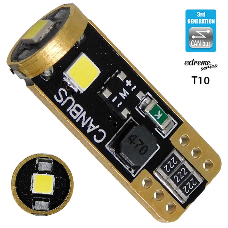 Λαμπτήρας LED T10 Extreme Series Can-Bus 3ης Γενιάς 3w 12V Ψυχρό Λευκό 6000k GloboStar 81115
