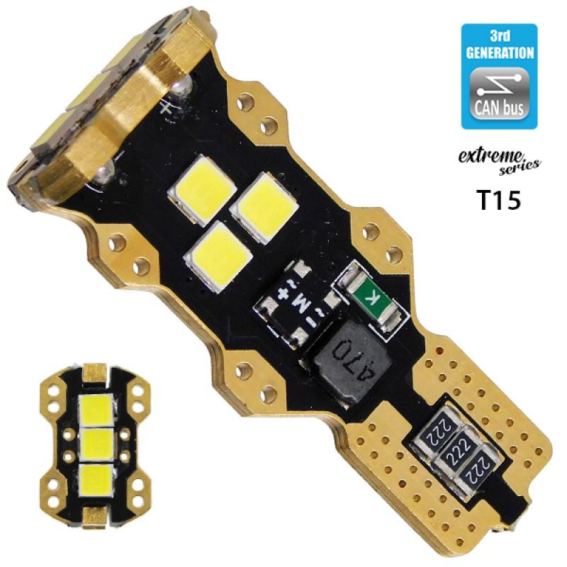 Λαμπτήρας LED T10 T15 W16W Extreme Series Can-Bus 3ης Γενιάς 5w 12v Ψυχρό Λευκό 6000k GloboStar 81132