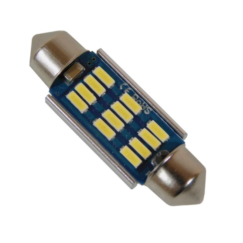 Σωληνωτός LED 39mm Can Bus με 12 SMD 4014 Samsung Chip 12 Volt Ψυχρό Λευκό GloboStar 81330