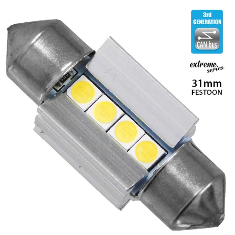 Σωληνωτός LED Extreme Series Can-Bus 3ης Γενιάς 31mm 3.1w 12V Ψυχρό Λευκό 6000k GloboStar 81337