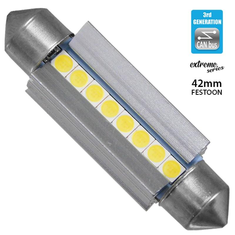 Σωληνωτός LED Extreme Series Can-Bus 3ης Γενιάς 42mm 4.2w 12V Ψυχρό Λευκό 6000k GloboStar 81340