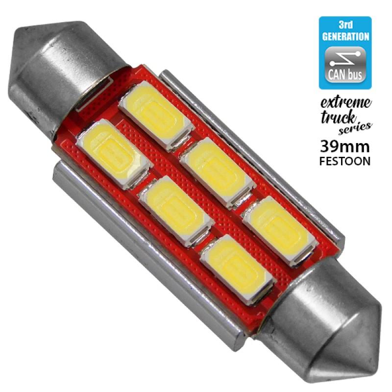 Σωληνωτός LED Extreme Truck Series Can-Bus 3ης Γενιάς 39mm 4.5w 24V Ψυχρό Λευκό 6000k GloboStar 81343