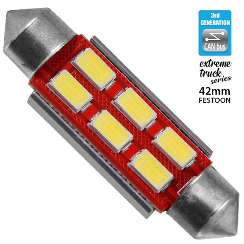 Σωληνωτός LED Extreme Truck Series Can-Bus 3ης Γενιάς 42mm 4.5w 24V Ψυχρό Λευκό 6000k GloboStar 81344