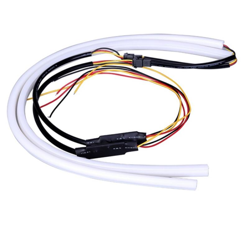 ΣΕΤ DRL - Φώτα Ημέρας για Φανάρι Αυτοκινήτου Λευκό + Πορτοκαλί για Φλας 60cm 12 Volt GloboStar 55112