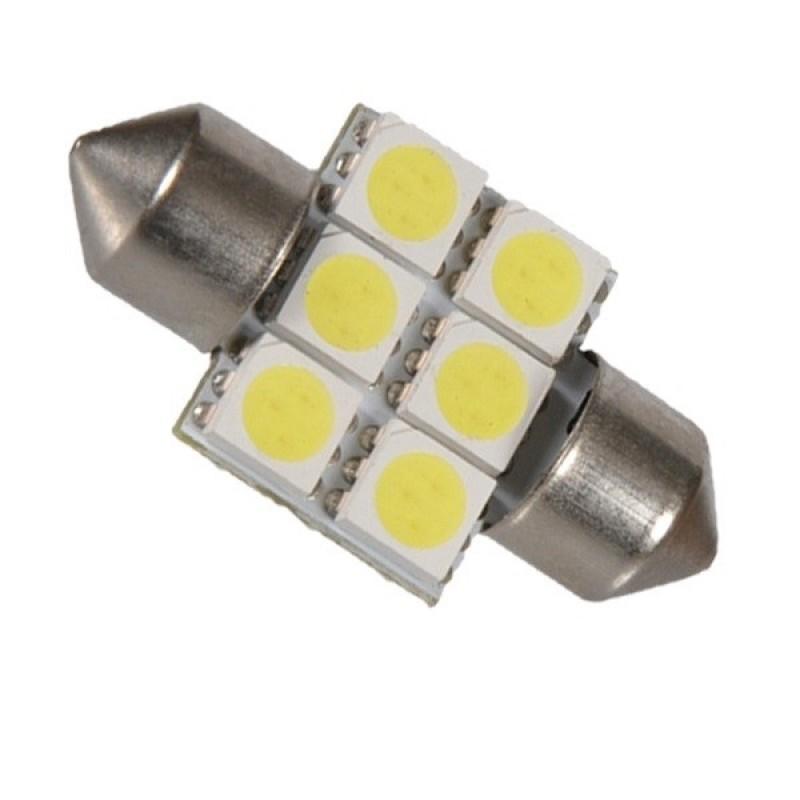 Σωληνωτός LED Απλός 31mm με 6 SMD 5050 Ψυχρό Λευκό GloboStar 09440