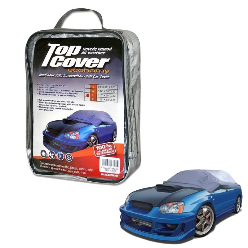 Κουκούλα αυτοκινήτου οικονομική  μισή TOP COVER ECO Large (115x58x20)