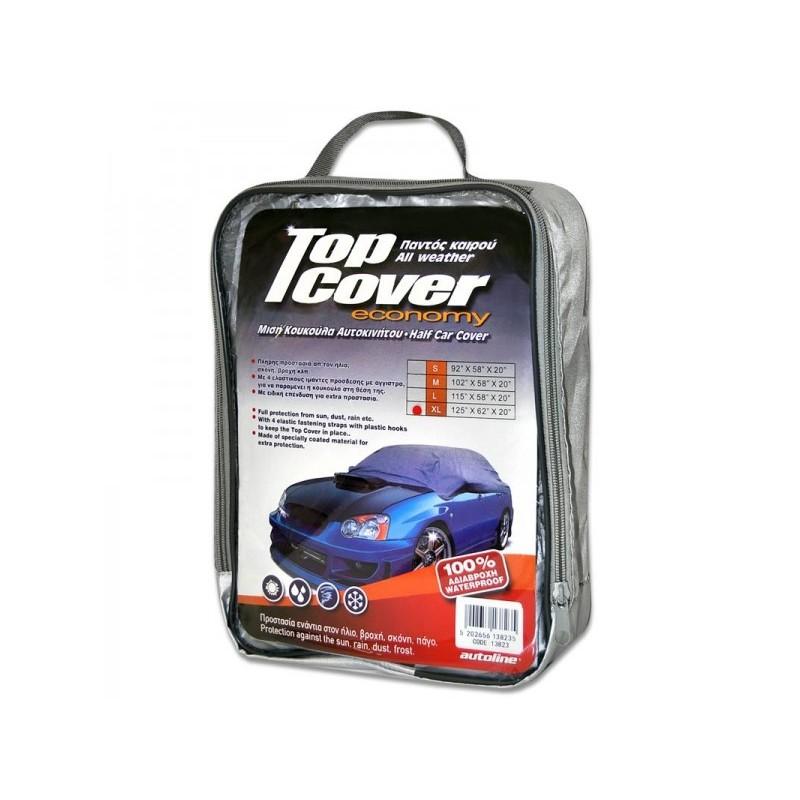 Κουκούλα αυτοκινήτου οικονομική  μισή TOP COVER ECO XLarge (125x62x20)
