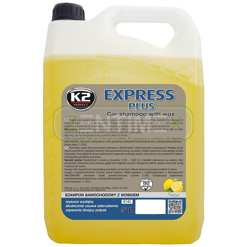 Σαμπουάν K2  EXPRESS PLUS υπερσυμπυκνωμένο με κερί 5L